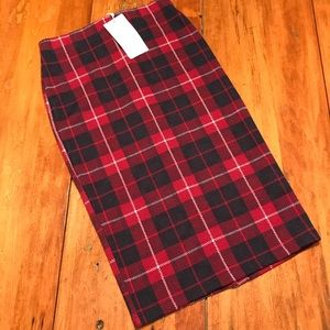 NWT Zara Plaid Pencil Skirt
